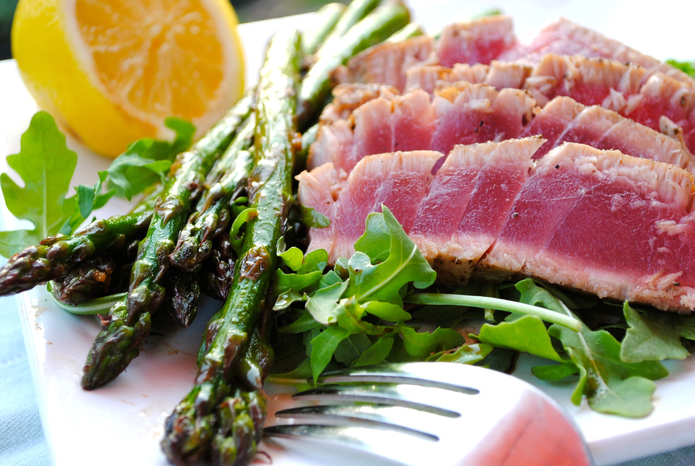 Seared Ahi Tuna with Asparagus | Bev Cooks