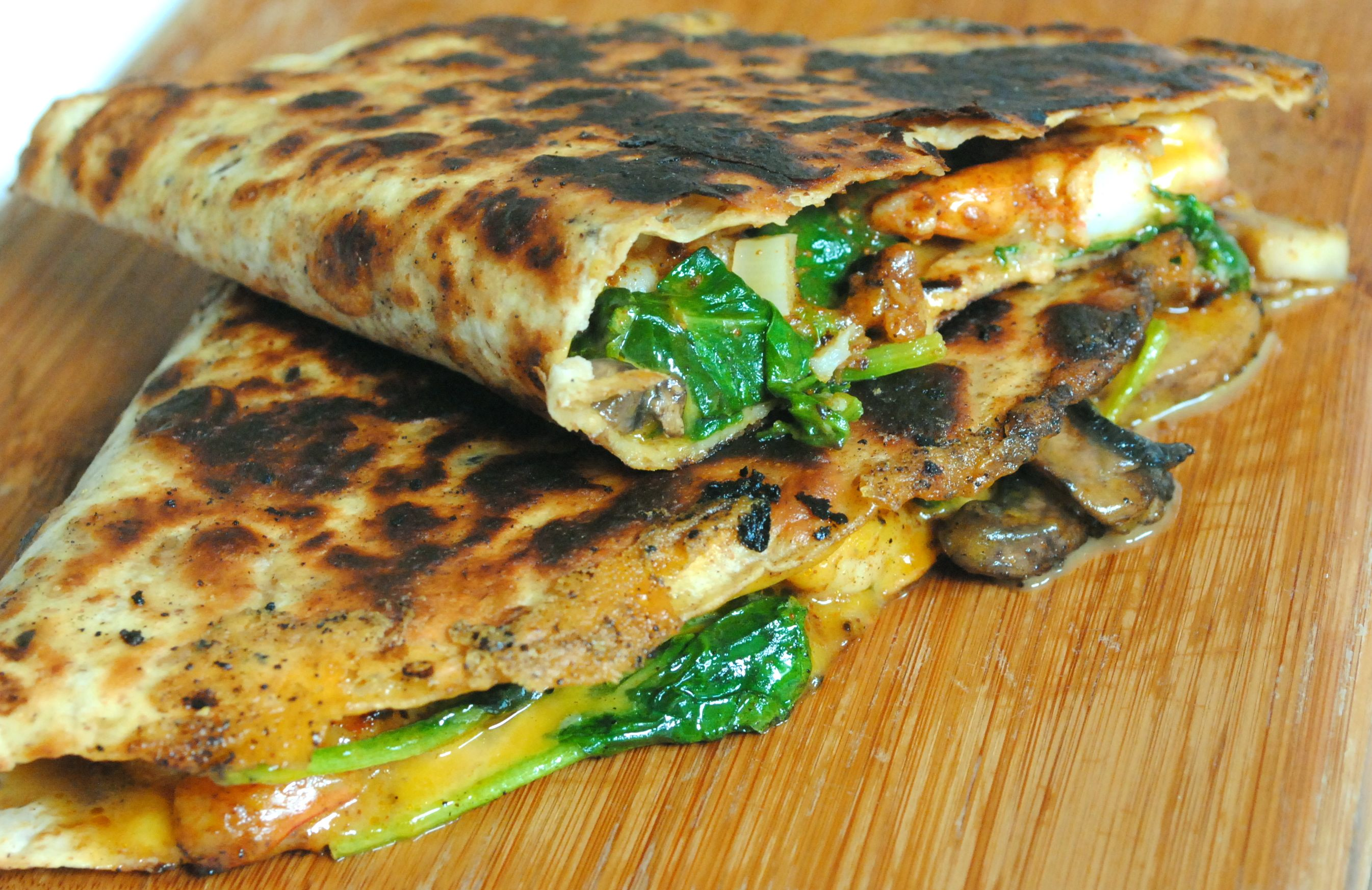 shrimp spinach and mushrooms quesadillas