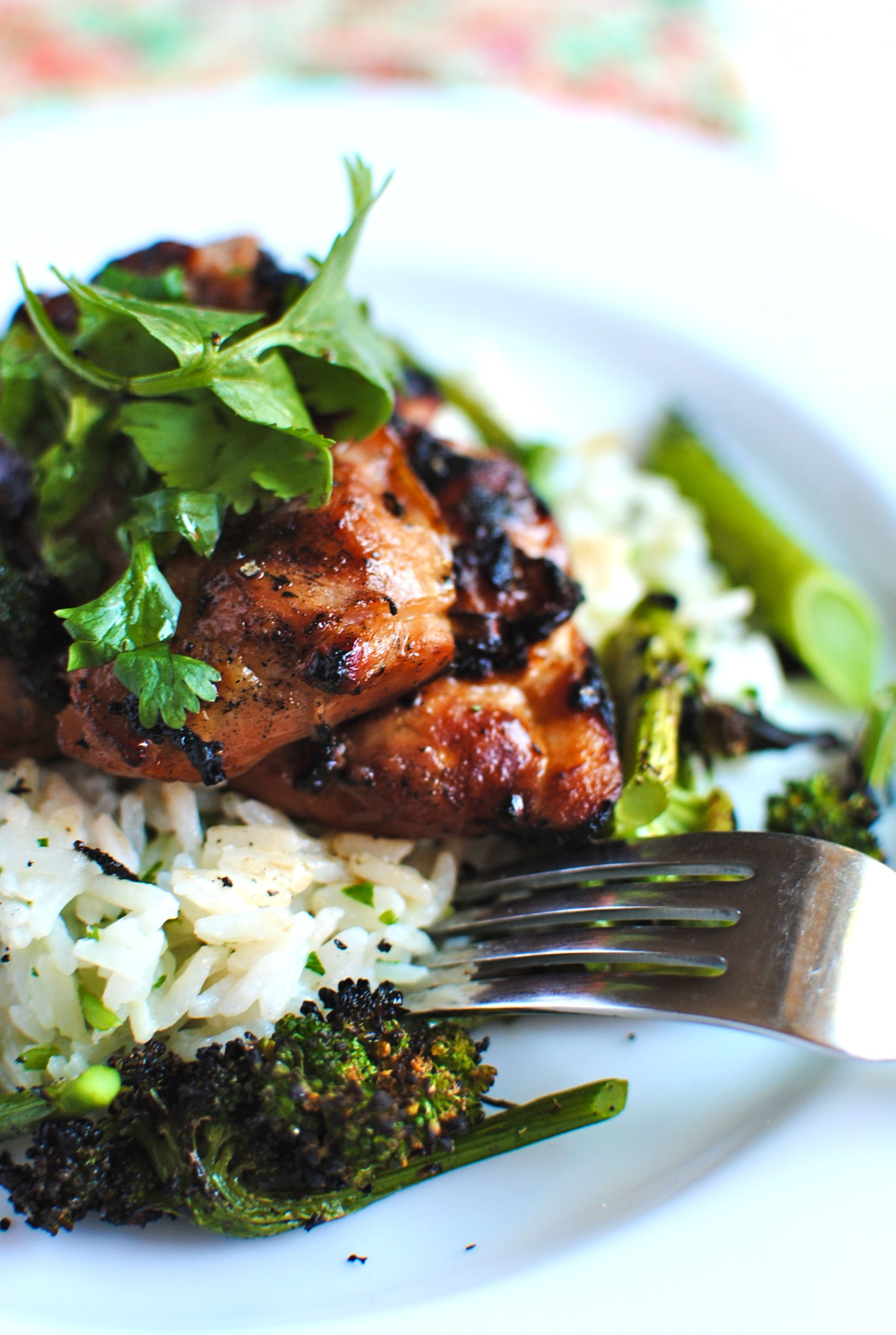 Grilled Hawaiian Chicken with Coconut-Cilantro Rice - Bev Cooks
