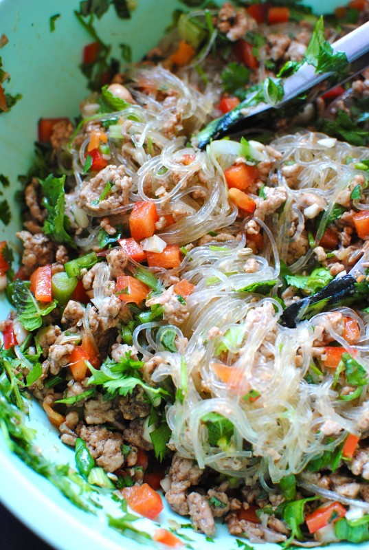 Spicy Peanut Noodle Salad With Cucumbers, Red Peppers, And ...