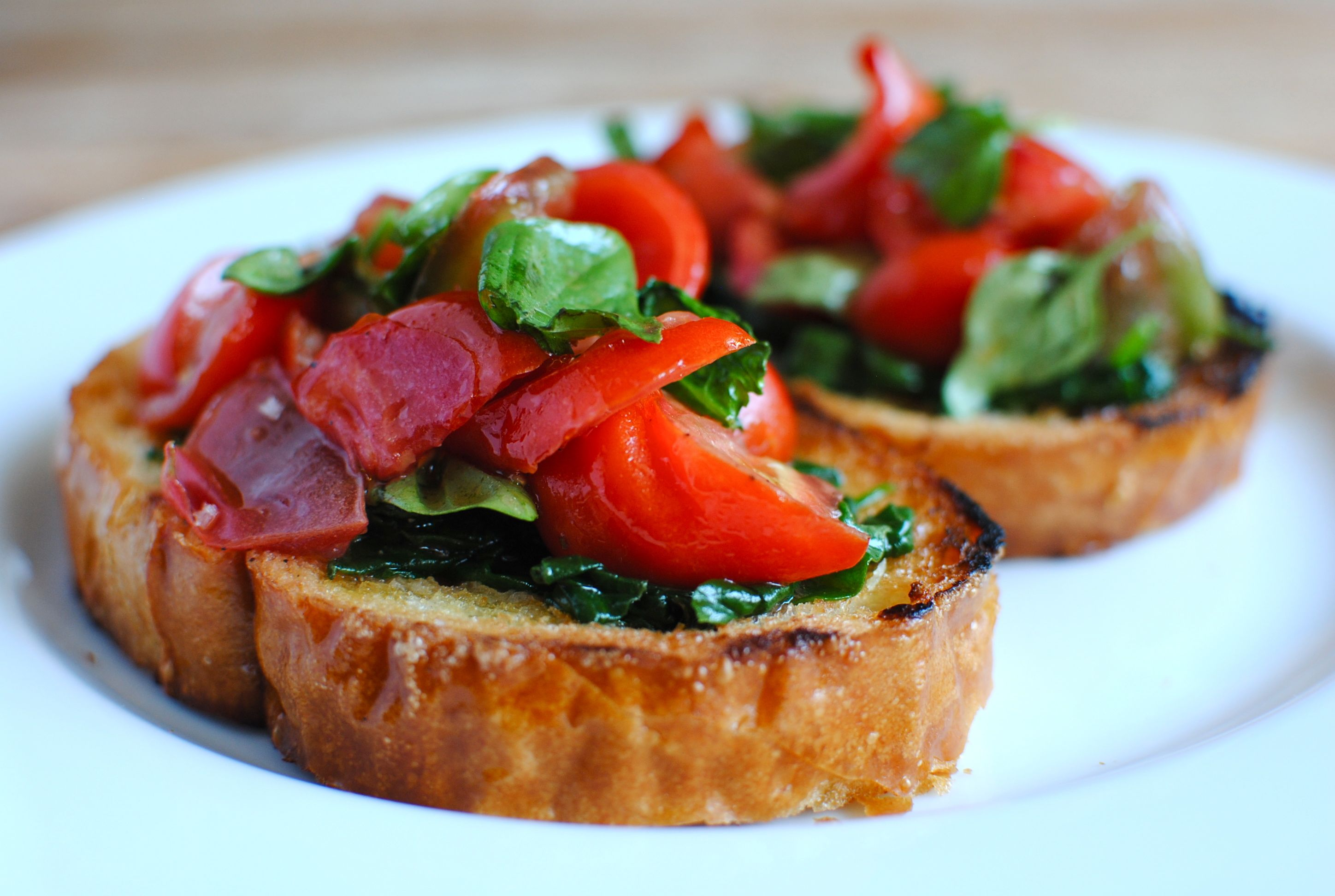Tomato Bruschetta with Sauteed Spinach | Bev Cooks