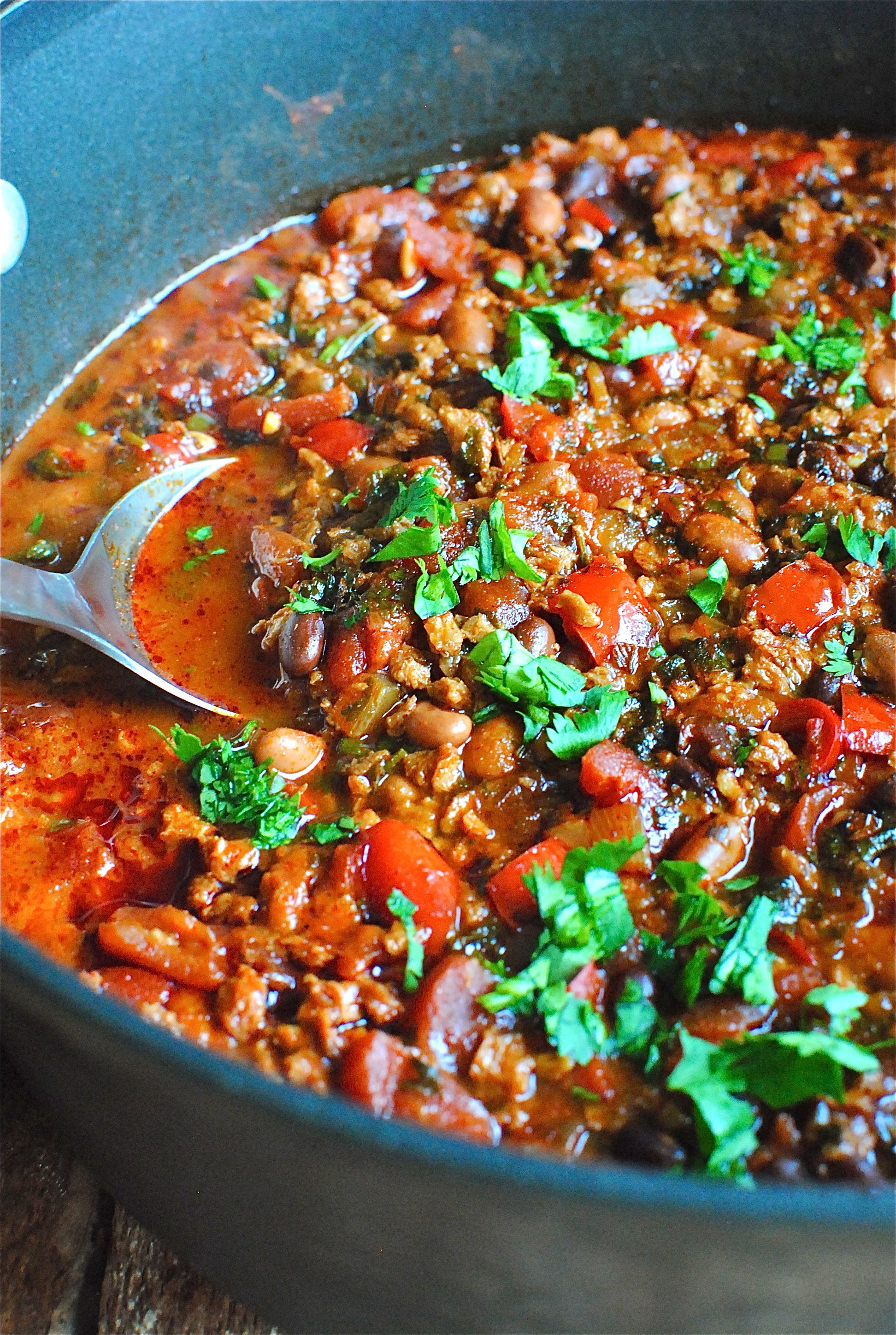 Soy Chorizo and Two-Bean Chili | Bev Cooks
