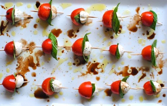 Mini-Caprese Skewers, see more at http://homemaderecipes.com/course/appetizers-snacks/12-thanksgiving-appetizers/