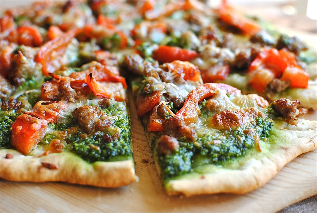 Sausage, Red Bell Pepper and Spinach Pesto Pizza - Bev Cooks