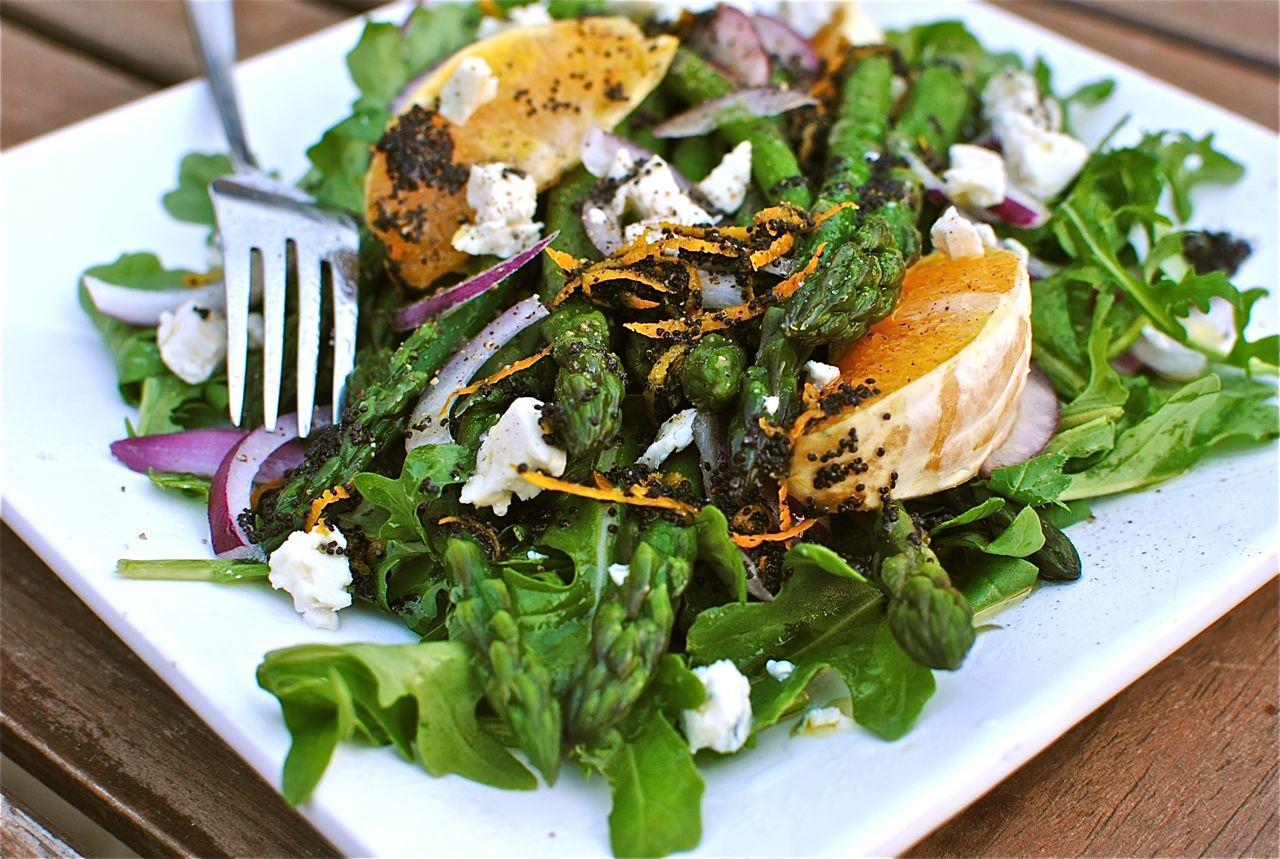 Asparagus Salad with Orange and Poppy Seeds - Bev Cooks