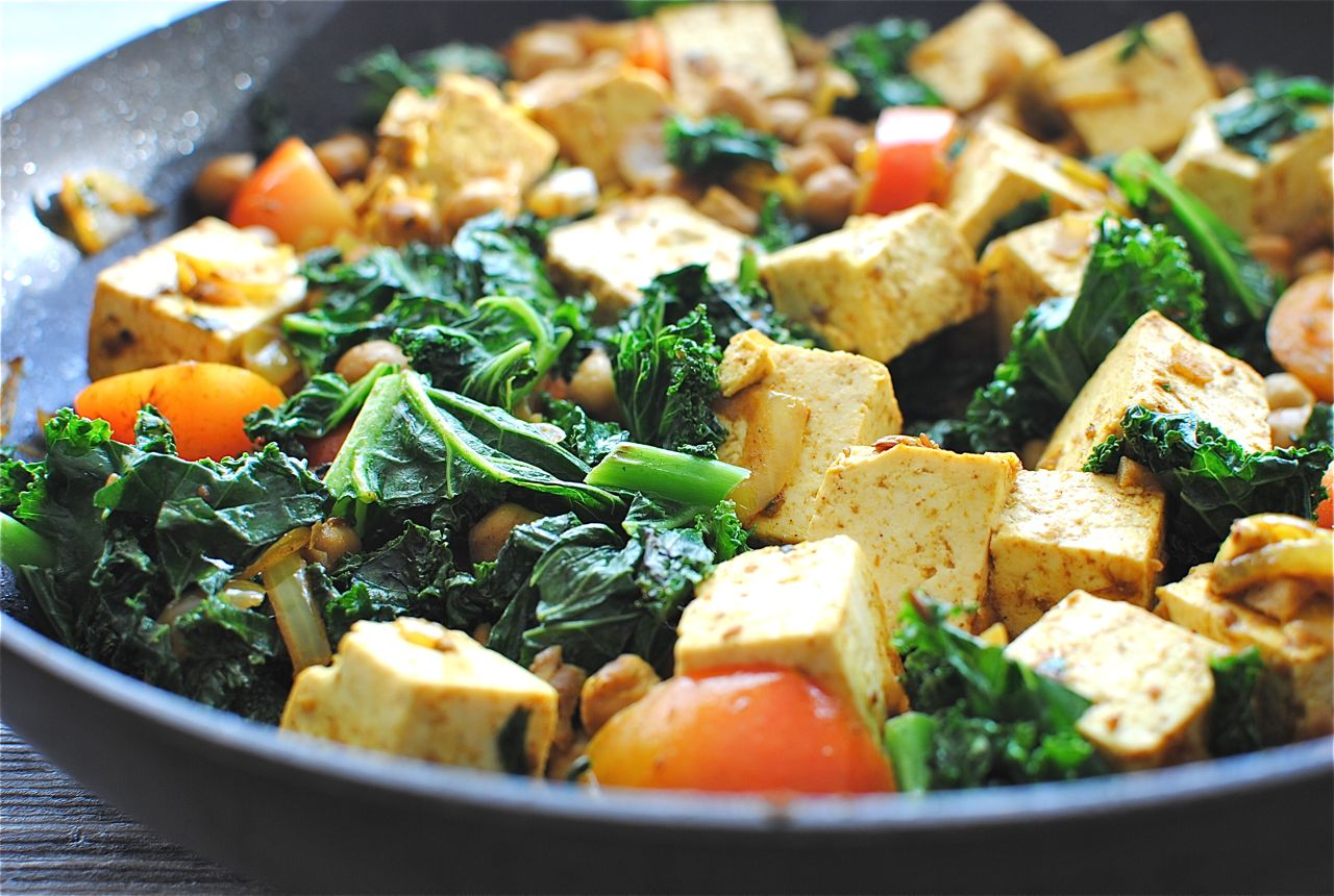 Quick Curried Chickpeas with Tofu and KaleBev Cooks