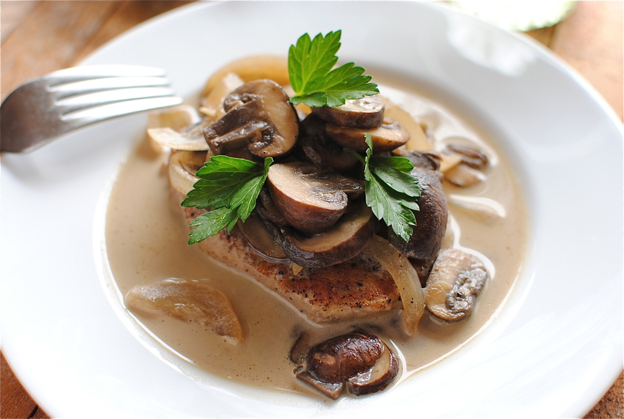 Pork Chops and Mushrooms in a White Wine Sauce | Bev Cooks