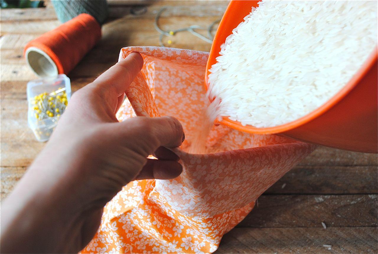 diy sock rice heating pad diy rice sack heating pads bev cooks