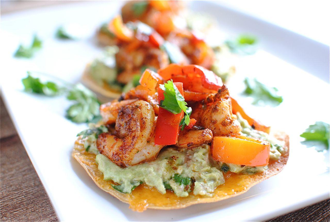 Simple Shrimp and Guacamole Tostadas | Bev Cooks