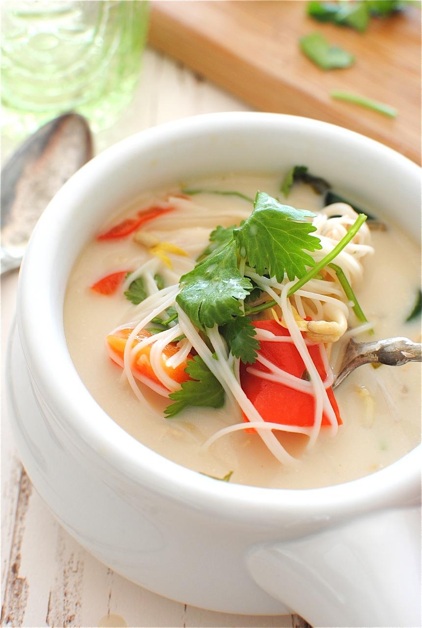 Slow Cooker Thai Chicken Noodle Soup | Bev Cooks