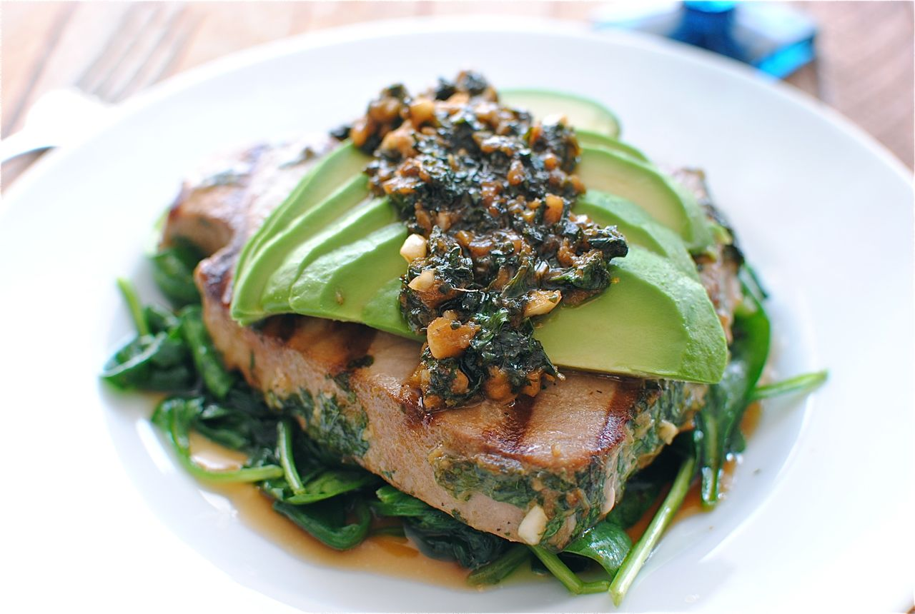 Grilled Citrus Tuna Steak with Avocado and Spinach | Bev Cooks