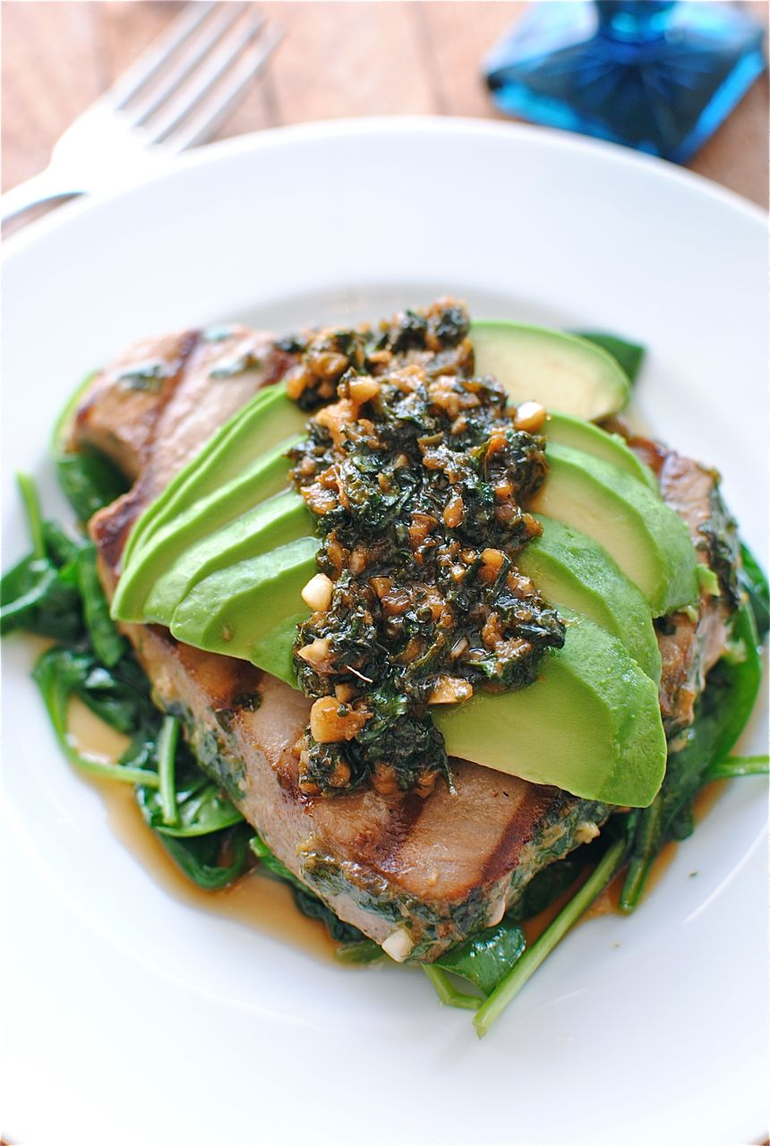 Grilled Citrus Tuna Steak with Avocado and Spinach - Bev Cooks