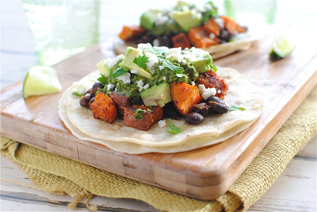 Black Bean and Sweet Potato Tacos with Swiss Chard Pesto | Bev Cooks