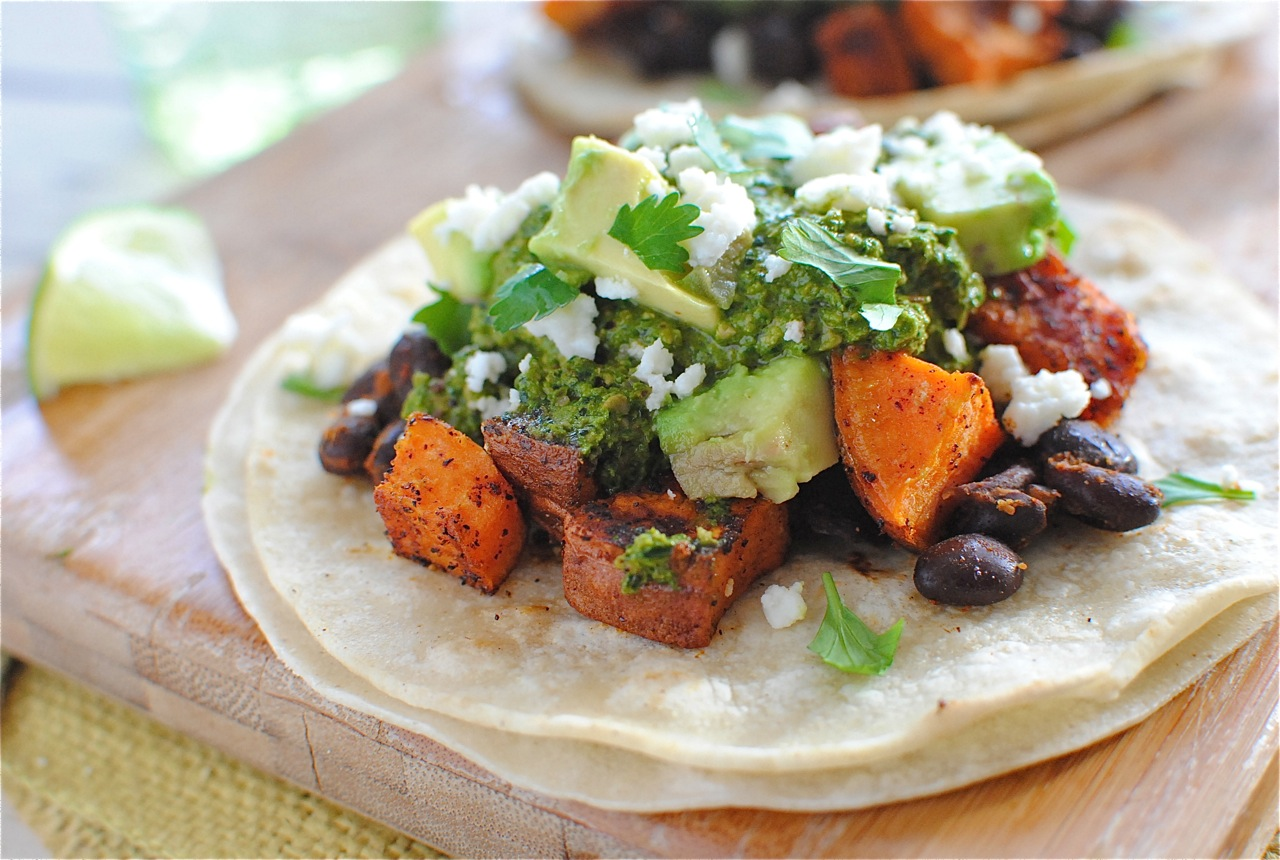 Black Bean and Sweet Potato Tacos with Swiss Chard Pesto - Bev Cooks