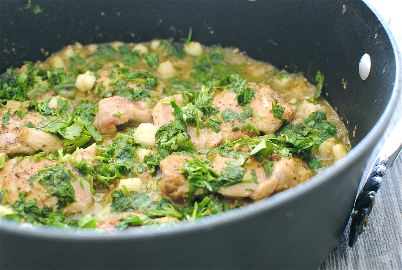 Braised Chicken in a Tomatillo Sauce - Bev Cooks