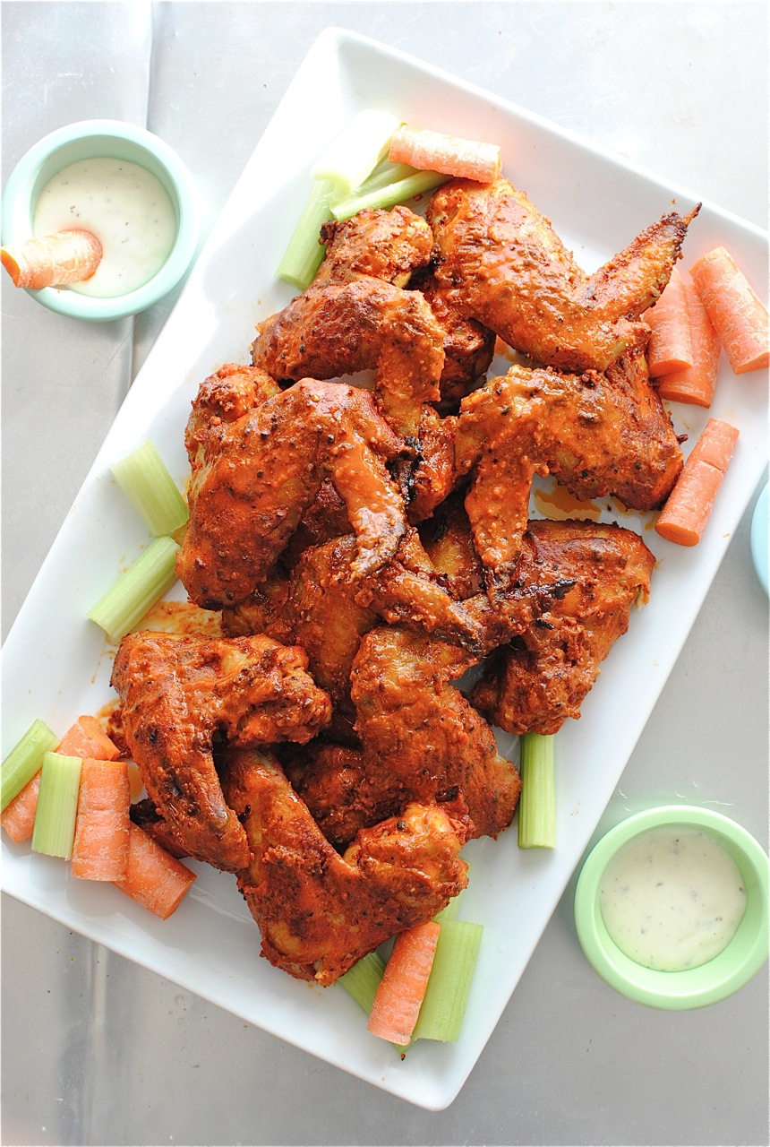 Baked Bourbon Buffalo Wings | Bev Cooks