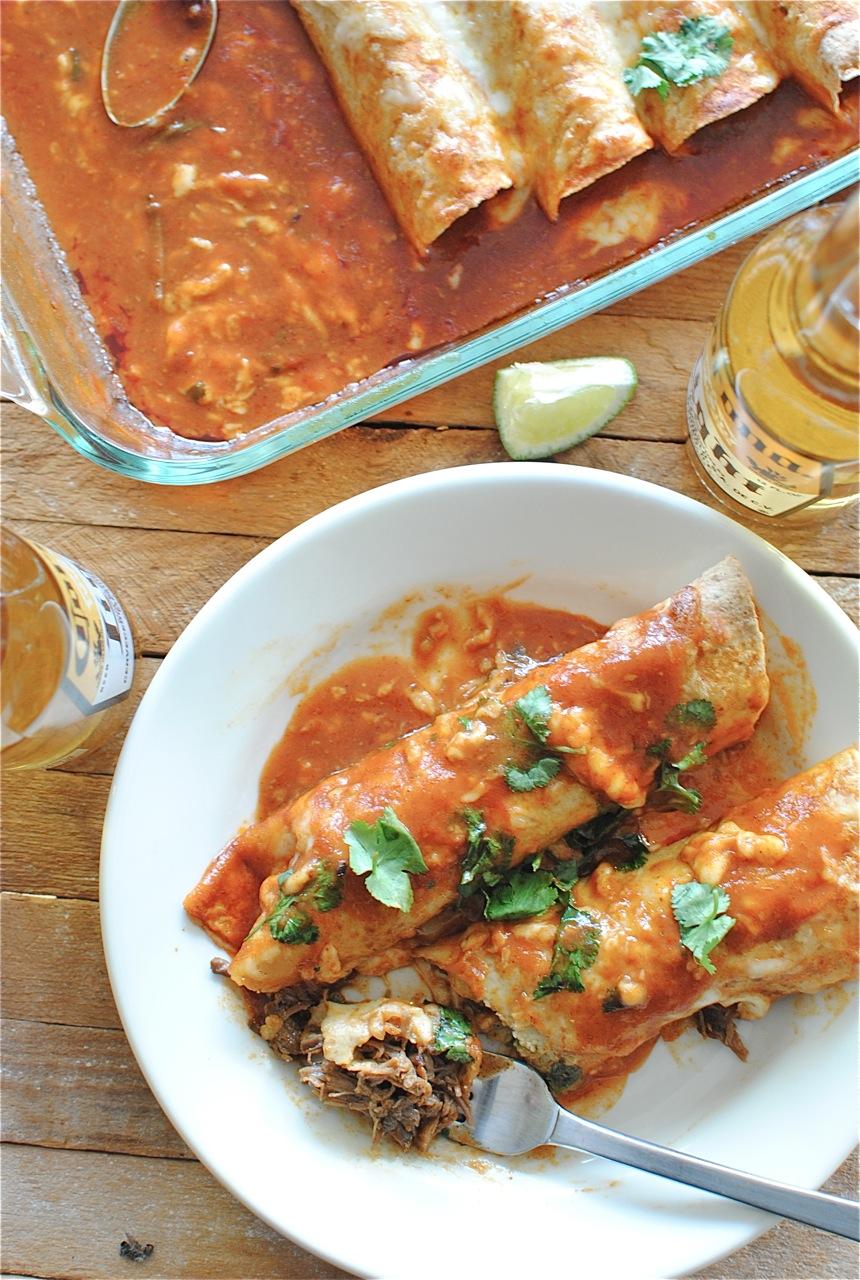 Slow Cooker Shredded Beef Enchiladas | Bev Cooks