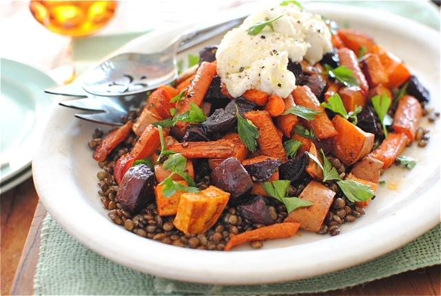 Roasted Root Vegetables with Lentils - Bev Cooks