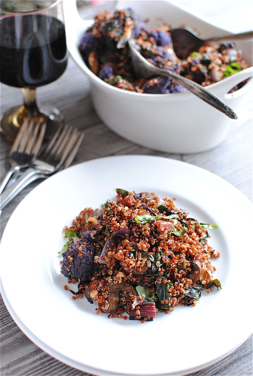 Red Quinoa with Swiss Chard, Mushrooms and Purple Cauliflower | Bev ...