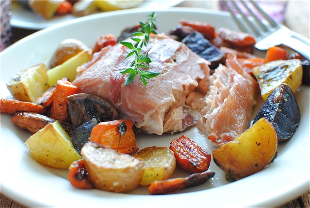Prosciutto-Wrapped Salmon with Roasted Vegetables | Bev Cooks