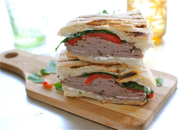 Roast Beef, Roasted Red Pepper and Goat Cheese Panini | Bev Cooks