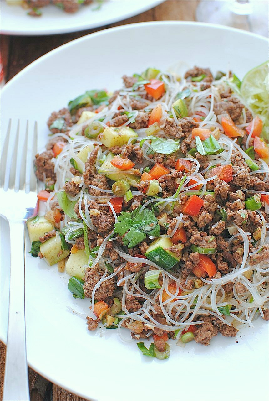 Spicy Beef and Basil with Vermicelli Noodles | Bev Cooks