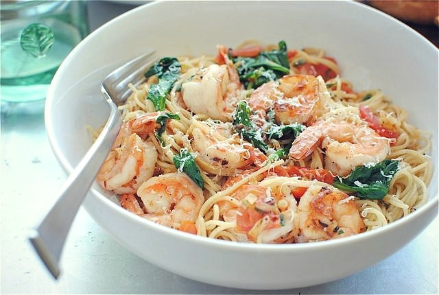 Shrimp Pasta with Tomatoes, Lemon and SpinachBev Cooks