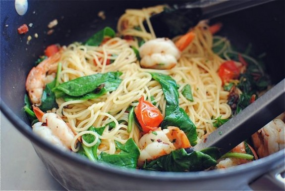 Shrimp Pasta with Tomatoes, Lemon and Spinach - Bev Cooks