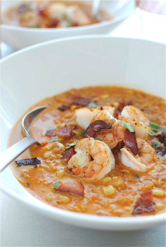 Smoky Corn Chowder with Shrimp / Bev Cooks