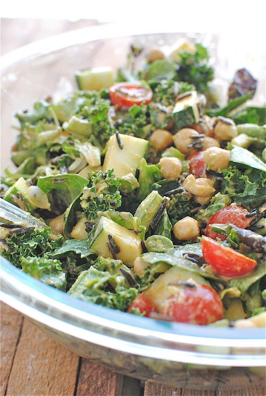Raw Kale Salad with Garden Vegetables and Wild Rice - Bev Cooks