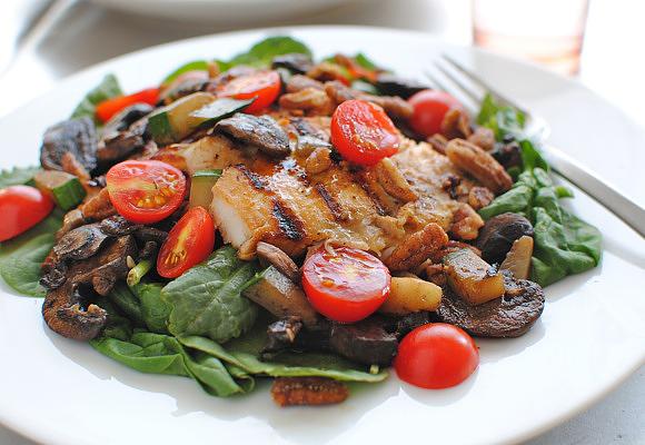 Grilled Tilapia Salad and Chicken Parmesan Salad   Bev Cooks