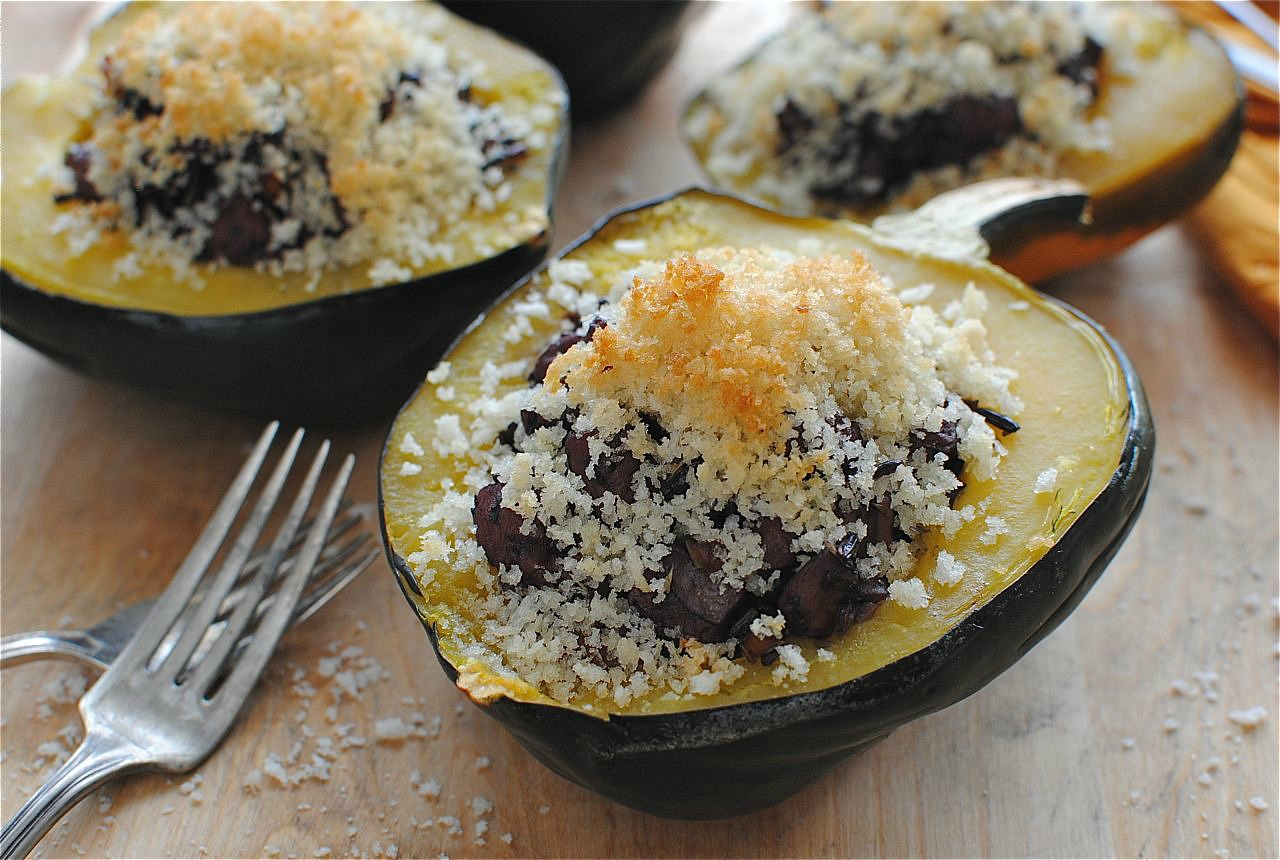 Chicken and Black Rice-Stuffed Acorn Squash | Bev Cooks