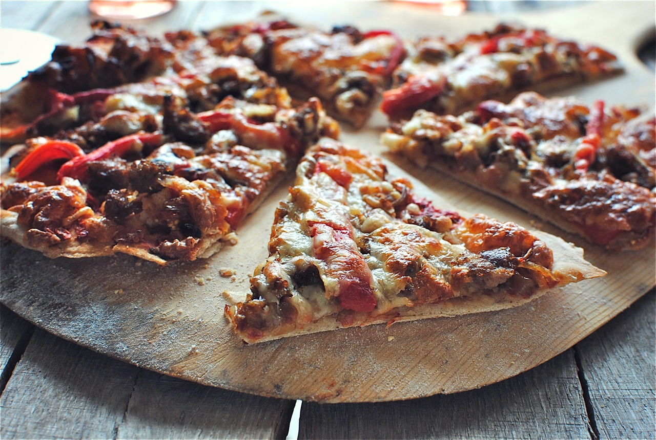 Pizza With Red And Yellow Peppers Recipe — Dishmaps