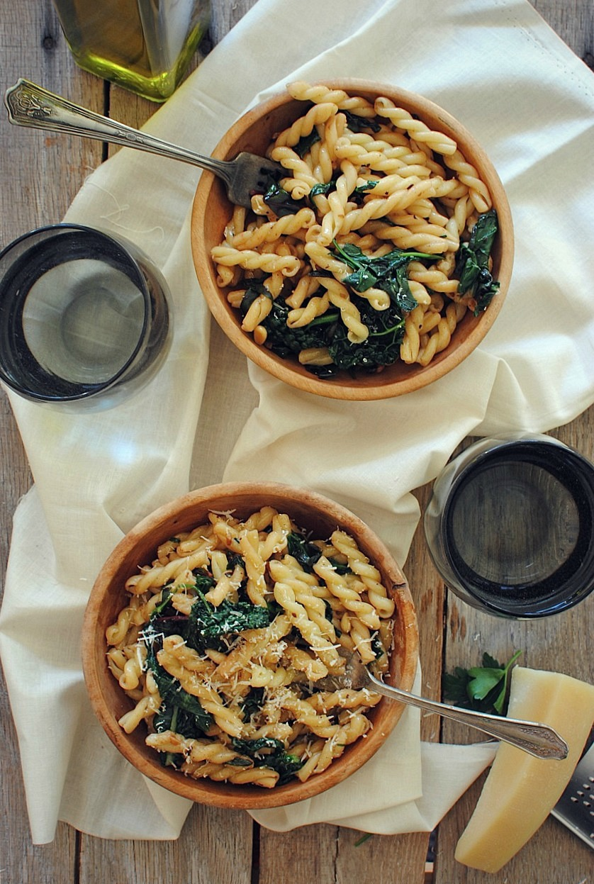 Gemelli Pasta With Garden Greens And Pine Nuts Bev Cooks