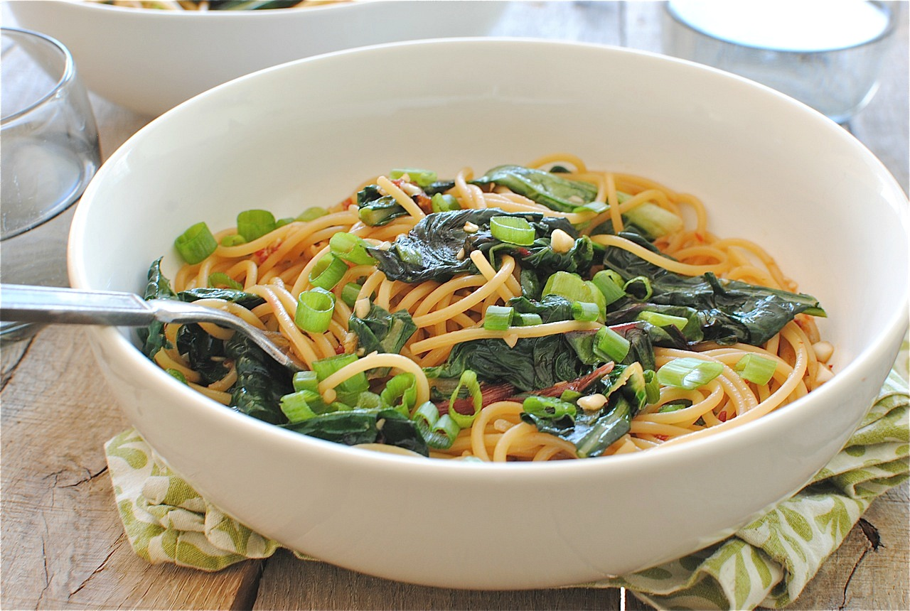 Sesame Noodles with Wilted Garden Greens   Bev Cooks