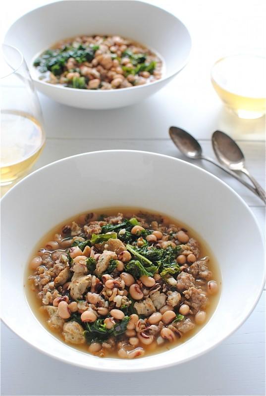 Sausage, Kale and Black-Eyed Peas Soup / Bev Cooks