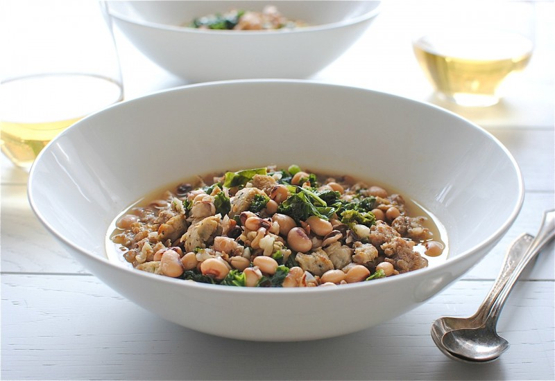 Sausage, Kale and Black-Eyed Peas Soup / Bev Cooks