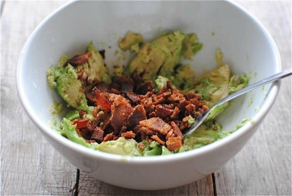 Chicken Burrito Bowls with Bacon Guacamole and Scallion Pesto / Bev Cooks