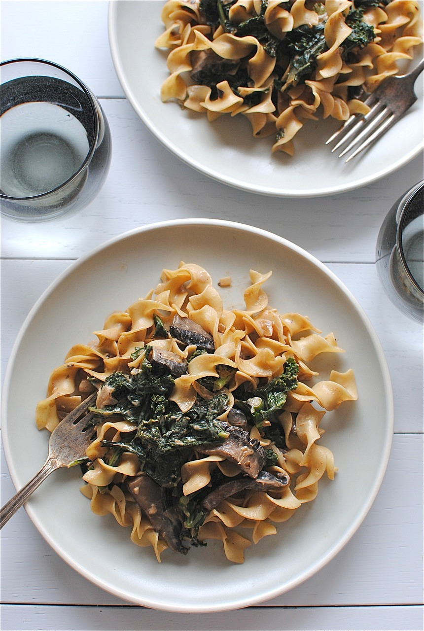 Portobello Mushroom and Kale Stroganoff | Bev Cooks