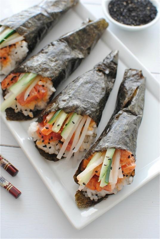 Spicy Tuna Hand Rolls / Bev Cooks