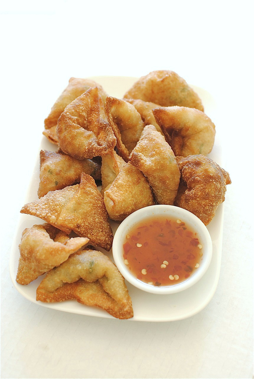Fried Shrimp and Pork Dumplings with a Sweet and Sour Sauce