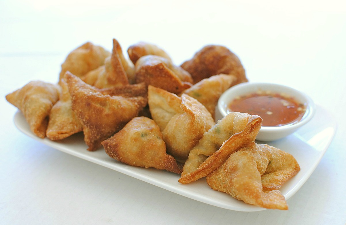 Fried Shrimp and Pork Dumplings with a Sweet and Sour Sauce - Bev ...