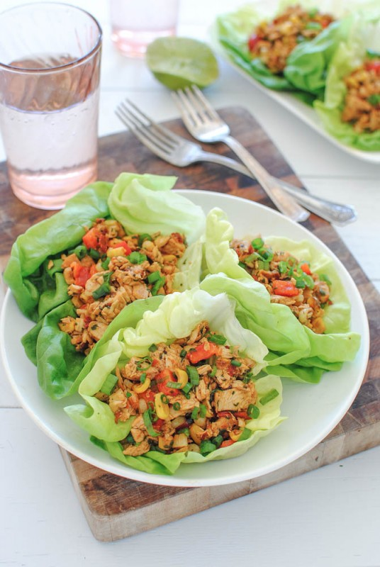 Chipotle Chicken Lettuce Wraps / Bev Cooks