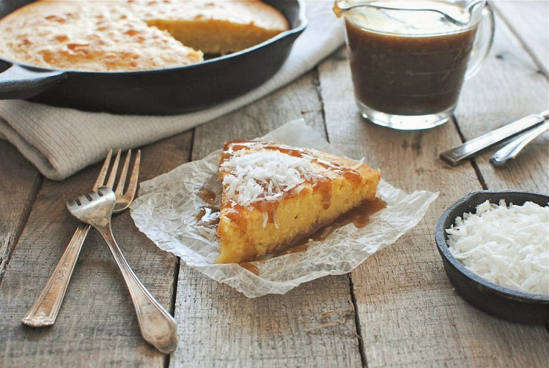 Coconut Milk Skillet Cake with a Kahlúa Drizzle / Bev Cooks