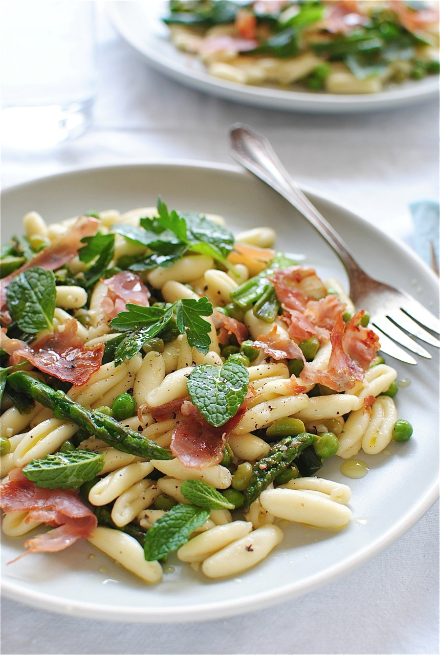 Cavatelli Pasta with Spring Vegetables - Bev Cooks