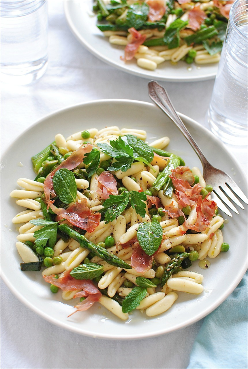 Cavatelli Pasta with Spring Vegetables | Bev Cooks