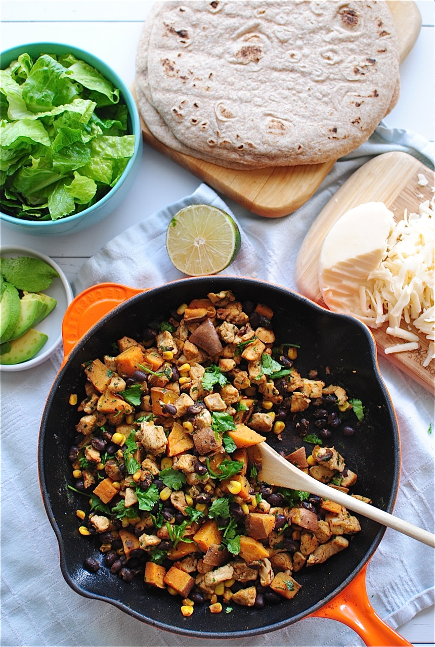 Chicken, Black Bean and Sweet Potato Tacos | Bev Cooks