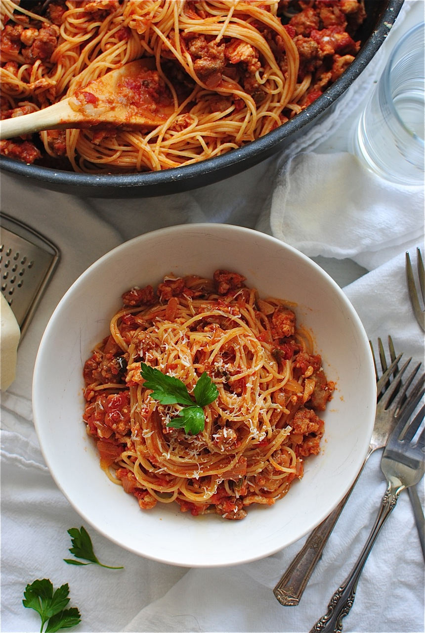 Angel Hair With A Tomato Meat Sauce Bev Cooks