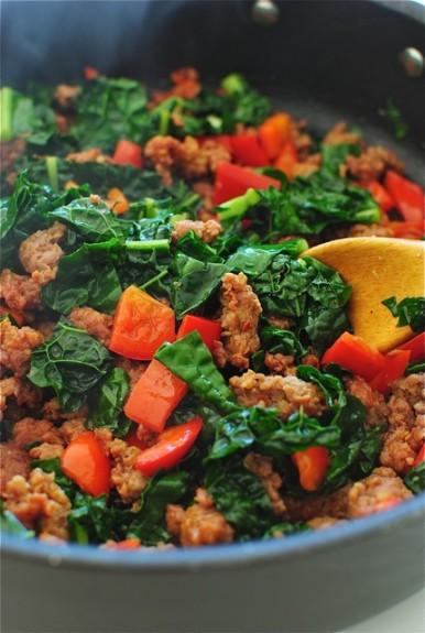 Sausage and Kale Pasta Bake / Bev Cooks