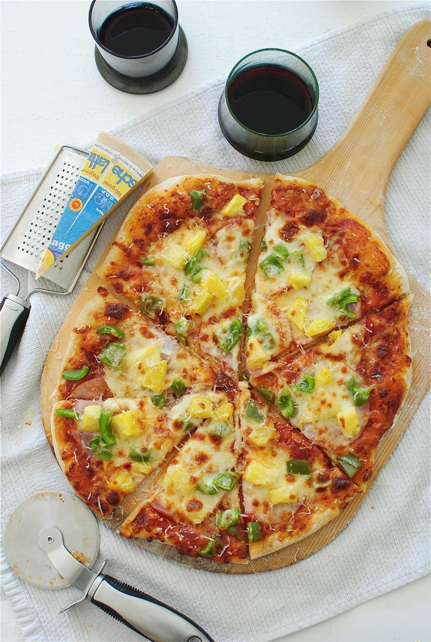 Hawaiian Pizza With Easy Beer Crust Bev Cooks